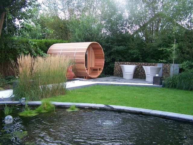 300cm saunabarrel bij vijver